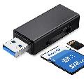 USB 3.0 SD / TF Memory Card Reader, 2 Slots, Card Reader for SDXC, SDHC, SD, MMC, RS-MMC, Micro SDXC, Micro SD, Micro SDHC Card BLACK