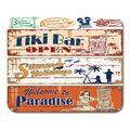 KDAGR Tiki Vintage Summer Holidays Signs Beach Bar Wood Hawaiian Hula Mousepad Mouse Pad Mouse Mat 9x10 inch