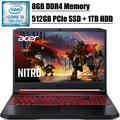 "2020 Premium Acer Nitro 5 15 Gaming Laptop I 15.6"" FHD IPS Display I 9th Gen Intel Quad-Core i5-9300H I 8GB DDR4 512GB PCIe SSD 1TB HDD I GeForce GTX 1650 I Backlit KB Bluetooth 5.0 HDMI Win 10"