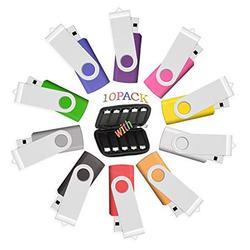 32GB USB Flash Drive 10 Pack, USB Drives 32 GB Bulk 10 PCS with Easy-Storage Bag Memory Stick JBOS Swivel Gig Stick USB2.0 Pendrive, Thumb Drives Packs, Mixed Color