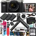 Sony a7C Mirrorless Full Frame Camera Body with 28-60mm F4-5.6 Lens Silver ILCE7CL/S Bundle + Vlogger Kit ACCVC1: GP-VPT2BT Shooting Grip w. Wireless Remote + 2x Battery + Deco Gear Bag & Accessories
