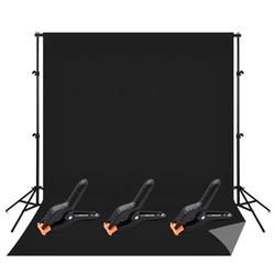 Andoer Professional Studio Photography Backdrop Kit with 6.6 * 10ft Bi color Washable Background Screen 6.6 * 10ft Backdrop Support Stand Bracket 3pcs Backdrop Clamps Carry Bag, Black