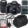 Canon EOS 4000D DSLR Camera with 18-55mm III & 75-300mm III Lens & Starter Accessory Bundle – Includes: SanDisk Ultra 32GB SDHC Memory Card + Camera Carrying Case + 2x Ultraviolet Filter + MORE