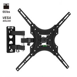 Full Motion Monitor Wall Mount TV Bracket for 26-55 Inch LED, LCD Flat Screen TV and Monitor, TV Mount with Swivel Articulating Arm, Monitor Mount Up to VESA 400x400mm and 66LBS