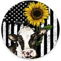 """Round Mouse Pad, American Flag Mouse Pad, Sunflower Cow Design Gaming Mouse Mat Waterproof Circular Small Mouse Pad Non-Slip Rubber Base MousePads for Office Home Laptop Travel, 7.9""""x0.12"""" Inch"""