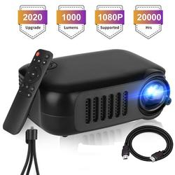 """Mini Projector, 1080P Full HD Supported Portable Video Projector Phone Projector 1000 Lux LED Movie Projector for Home Theater, Outdoor HDMI Projector with Max 100"""" Projection Size - Tripod Included"""