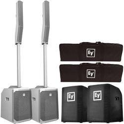 Electro-Voice Evolve 50 Portable Bluetooth White Column PA Systems with Subwoofer Covers Package