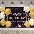Happy Birthday Party Decorations, Extra Large Fabric Black and Gold Happy Birthday to You Sign Backdrop Banner Photo Booth Background for Indoor Outdoor Birthday Party Favor, 70.8 x 43.3 Inch