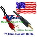 50 ft 3.5mm 24k stereo to 24k dual rca speaker (75ohm) coaxial audio cable