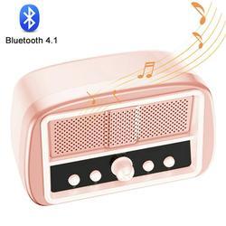 AUPERTO Retro Bluetooth Speaker, Wireless Vintage Speakers, Powerful HD Sound Rechargeable Speaker, 6H Long Playtime Pink