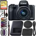 Canon EOS M50 Mirrorless Digital Camera with 15-45mm Lens (Black) Deluxe Bundle Includes – SanDisk Extreme 64GB Memory Card, 3Pc Multi Coated HD Filter Kit, 6pc Graduated Color Filter Set and More