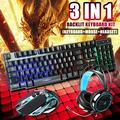RGB Gaming Keyboard and Backlit Mouse and Headset Combo,USB Wired Backlit Keyboard,LED Gaming Keyboard Mouse Set,Headset with Microphone for Laptop PC Computer Game