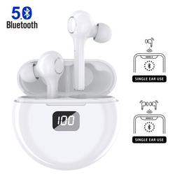 Bluetooth Earbuds, Bluetooth 5.0 Headphones Wireless Earbuds in-Ear Wireless Headphones Hi-Fi Stereo Sweatproof Earphones Sport Headsets Built-in Mic for Work/Running/Travel/Gym (White)