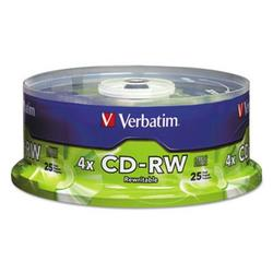 1PK-Verbatim CD-RW Discs, 700MB/80min, 4X, Spindle, Matte Silver, 25/Pack