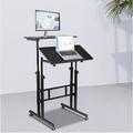 LAFGUR Mobile Stand Up Desk, Adjustable Height Laptop Desk for Standing or Sitting with Wheels Home Office Workstation