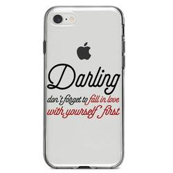"""DistinctInk Clear Shockproof Hybrid Case for iPhone 7 8 SE (2020 Model) 4.7"""" Screen TPU Bumper Acrylic Back Tempered Glass Screen Protector - Darling Don't Forget to Fall In Love with Yourself"""