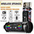 LED Wireless Portable bluetooth Speaker Stereo Super Bass HIFI AUX FM Sondbar US-Red
