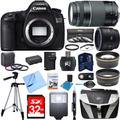 Canon EOS 5DS 50.6MP Digital SLR Camera Super Bundle includes Camera, 50mm Lens, 75-300mm Lens, 58mm Filter Kit, 32GB SDHC Memory Card, Tripod, Gadget Bag, Cleaning Kit, Beach Camera Cloth and More!