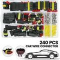 NKTIER 240PCS Heat Shrink Wire Connectors, Waterproof Automotive Marine Electrical Terminals Kit, Crimp Connector Assortment