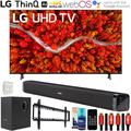 LG 55UP8000PUA 55 Inch 4K UHD Smart webOS TV (2021) Bundle with Deco Gear Home Theater Soundbar with Subwoofer, Wall Mount Accessory Kit, 6FT 4K HDMI 2.0 Cables and More