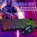 Mechanical Gaming Keyboard and Mouse Combo,RGB Backlit Wired Keyboard LED Rainbow Backlit Keyboard with 104 Key Computer PC Gaming Keyboard for PC/Laptop(White,Black)