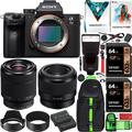 Sony a7III Full Frame Mirrorless Camera ILCE-7M3KB with 2 Lens SEL2870 FE 28-70mm F3.5-5.6 OSS and SEL50F18F FE 50mm F1.8 Set + Deco Gear Backpack Case 2x 64GB Memory Cards Extra Battery Kit Bundle