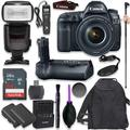Canon EOS 5D Mark IV Full Frame Digital SLR Camera with EF 24-105mm f/4L is II USM Lens with Pro Camera Battery Grip, Professional TTL Flash, Deluxe Backpack, Spare LP-E6 Battery (17 Items)