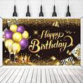 Crenics Happy Birthday Backdrop Banner, Extra Large Birthday Photo Background Banner, Gold Black Birthday Decoration Party Supplies Banner for Women Men, 5.9x3.6 ft