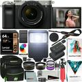 Sony a7C Mirrorless Full Frame Camera Alpha 7C Body with 28-60mm F4-5.6 Lens Kit Silver ILCE7CL/S Bundle with Deco Gear Case + Extra Battery + Flash + Filters + Macro & Telephoto Lenses + Accessories