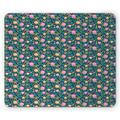 Floral Mouse Pad, Colorful English Garden Flowers with Buds and Leaves Spring Spirit Illustration, Rectangle Non-Slip Rubber Mousepad, Multicolor, by Ambesonne