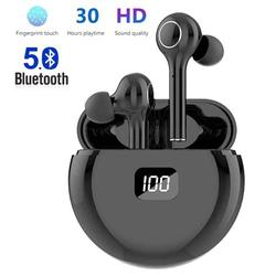 Wireless Earbuds, Bluetooth 5.0 Waterproof Headphones with Digital Intelligence LED Display Charging Case, HD Stereo Built-in Mic in-Ear Sports Earphones for Running Gym Office - Black