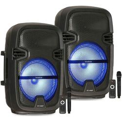 Pair of BT-08SP2 Boytone 8� Portable Bluetooth PA Speaker, Rechargeable, Karaoke, Wireless Microphone, TWS(Wireless) to Connect both Speakers Together. DJ Lights, FM, MP3, USB Port, TF Slot, AUX
