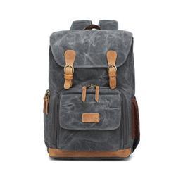 Romacci High Capacity Canvas Photography Backpack Travel Camera Bag Outdoor Waterproof Camera Shoulders Backpack