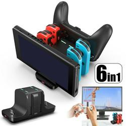6-in-1 Charging Dock Fit for Nintendo Switch Controller, TSV Switch Charging Station Controller Charger Docking Stand Compatible with Nintendo Switch Wireless Pro and Joy Con Controllers