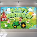 Green Tractor Happy Birthday Backdrop Farm Tractor Themed Photography Background Farm Theme Birthday Tractor Photo Booth Props for Kids Birthday Party Decorations