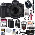 Canon EOS R Full Frame Mirrorless Digital Camera + 24-105mm f/4 L IS Lens + Mount Adapter + 64GB Card + Battery + Filters + Backpack + Strap + Tripod + Flash Kit