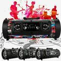 Portable Wireless Bluetooth Speaker Boombox Bass Stereo Cylinder SD FM Radio AUX (Graffiti)