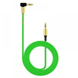 3.5mm Audio Cable, Elbow Angle Male to Male Auxiliary Stereo HiFi Speaker Cable Compatible with Car and Phone,Green