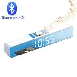 USB Wireless Bluetooth Mini Speaker With Clock, Sound Bar Dual Speakers for Computer Smartphone Desktop Laptop PC, TV Aux Input