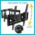 Articulating TV Wall Mount Corner Bracket VESA 400 x 400 Compatible Stable Dual Arm Full Motion Swivel Tilt Fits 26 27 32 36 42 46 50 55 60 65 Inch TVs