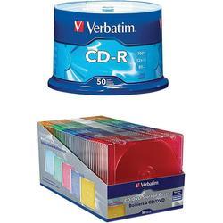 Verbatim CD/DVD Slim Color Cases (50-Pack) and 80-Minute CD-Rs (50-Pack)