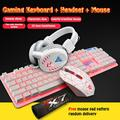 RGB Gaming Keyboard and Backlit Mouse and Headset Combo, KWANSHOP USB Wired Backlit Keyboard,LED Gaming Keyboard Mouse Set,Headset with Microphone for Laptop PC Computer
