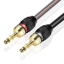 Speaker Cable with Banana Plug Tips - High Count Strand 12 AWG Electrical Speaker Wire Connector 12 Gauge Cord 24K Gold Plated & Corrosion Resistant for Home Theater System (25FT)