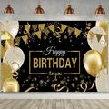 Abcelit Happy Birthday Backdrop Banner Extra Large Black and Gold Sign Poster Party Photo Booth Backdrop Background Banner Decoration Supplies