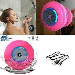 Water Proof Bluetooth 3.0 Speaker, Mini Water Resistant Wireless Shower Speaker, Handsfree Portable Speakerphone with Built-in Mic,Pink