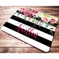 Personalized Custom Name Mouse Pad Floral Watercolor Black and White Striped Mousepad Desk Accessories for Women