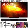 """LG OLED55BXPUA 55 inch BX 4K Smart OLED TV with AI ThinQ 2020 Model Bundle with 31 inch Soundbar 2.1 CH, Flat Wall Mount Kit, 6-Outlet Surge Adapter and TV Essentials 2020(OLED55BX 55BX 55"""" TV)"""