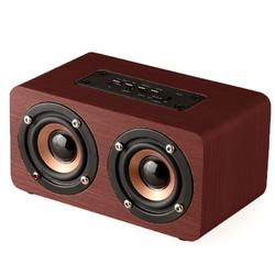 Wooden Combination Speaker Wireless Bluetooth 4.2 Speaker, Stereo Loudspeakers with 2 Horn, Portable Mini Multimedia Music Speakers with Superior Sound Quality