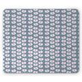 Fox Mouse Pad, Sleeping Fox Faces with Sky Stars Scandinavian Style Children Cartoon, Rectangle Non-Slip Rubber Mousepad, Slate Blue Baby Pink, by Ambesonne