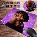 Gaming Mouse Pad and Coasters Set, Cool Girl African American Woman Mousepad, Non-Slip Rubber Rectangle Mouse Pad, Customized Mouse Mat for Working and Gaming